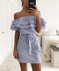 Ruffle Summer Striped Dress