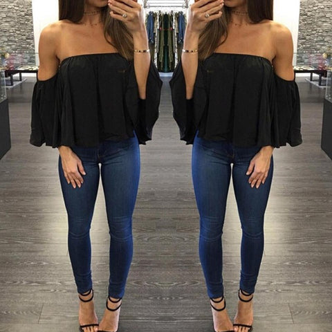 Chiffon Blouse Half Sleeve Off Shoulder Blouse
