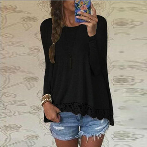 Long Sleeve Casual Lace Blouse
