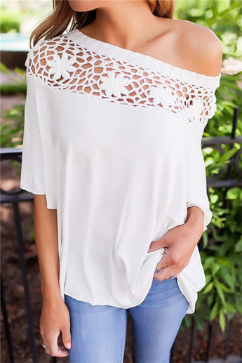 Half Sleeve Shoulder Top Sexy Lace Blouse