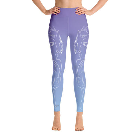 Wolf Spirit Animal High Waist Yoga Pants-Flower of Living