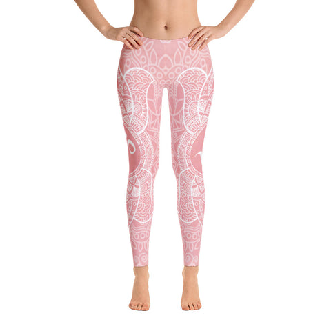 Elegant Pink OM Yoga Pants-Flower of Living