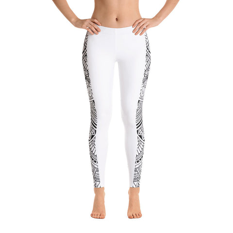 White Mandala Stripe Yoga Pants-Flower of Living
