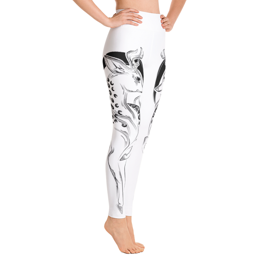 White Deer High Waist Yoga Pants - Flower of Living