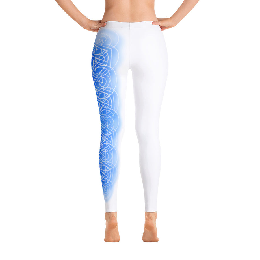 Single Leg White Woven Perfect Circles Yoga Pants - Flower of Living