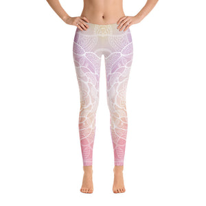 Peachy White Mandala Yoga Pants-Flower of Living