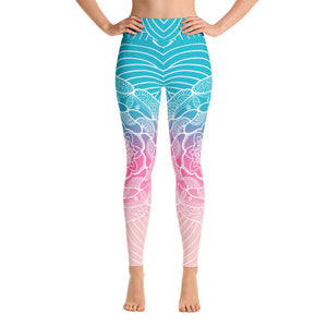 Morningbird Song Mandala High Waist Yoga Pants-Flower of Living