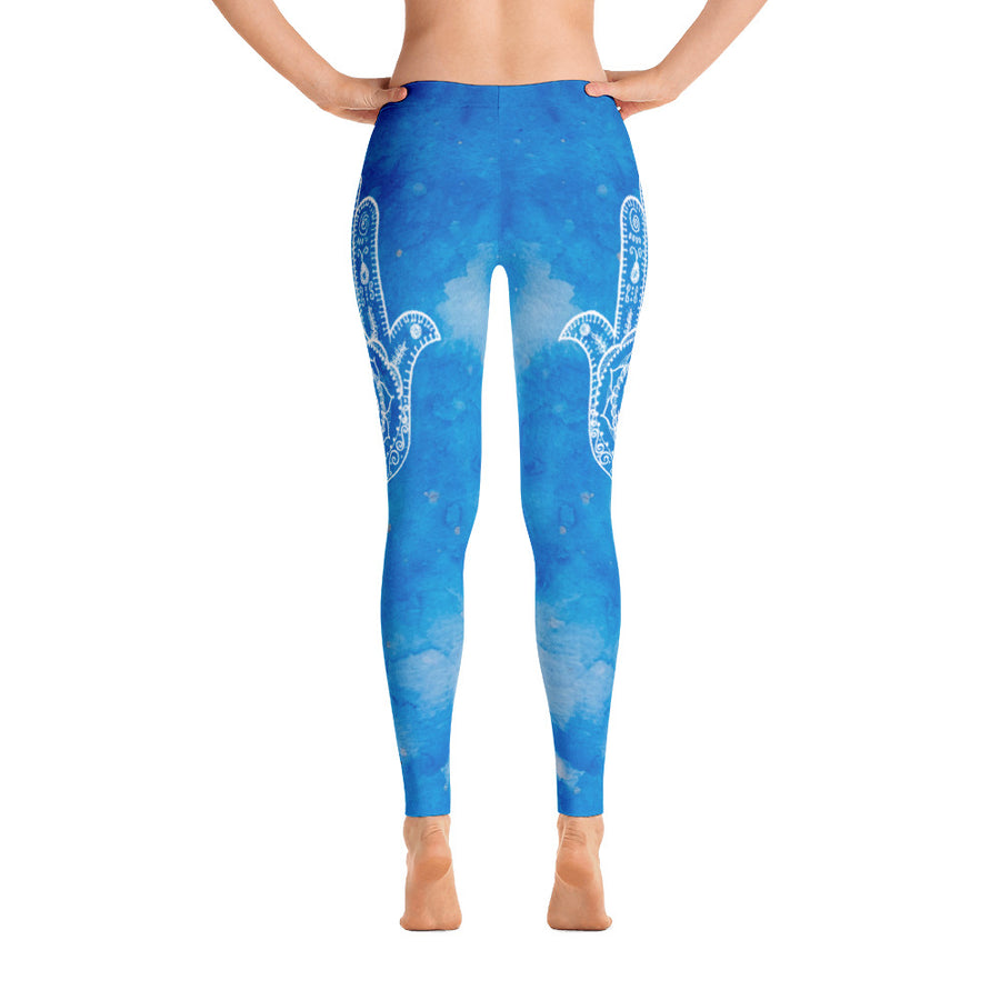 Sky Blue Hamsa Yoga Pants - Flower of Living