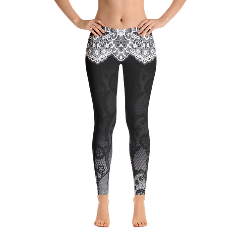 Midnight Elegant Lace Yoga Pants-Flower of Living