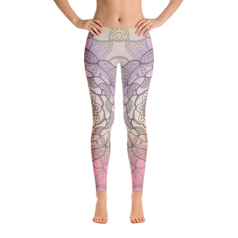 Peachy Black Mandala Yoga Pants-Flower of Living
