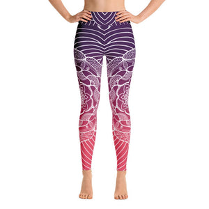 Serene High Desert Mandala High Waist Yoga Pants-Flower of Living