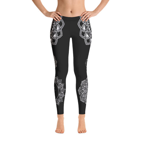 Onyx Sharad Mandala Yoga Pants-Flower of Living