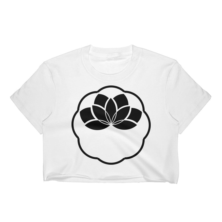 Black Minimalist Lotus Crop Top - Flower of Living