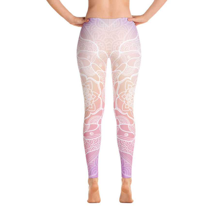 Peachy White Mandala Yoga Pants - Flower of Living