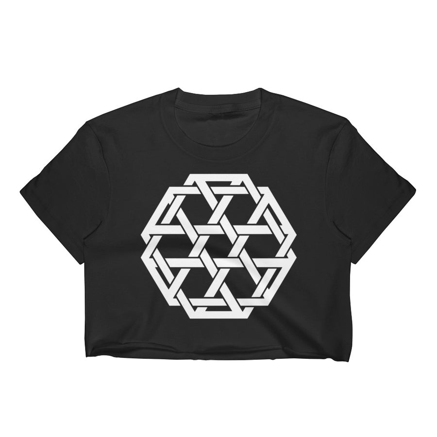 White Minimalist Woven Merkaba Crop Top - Flower of Living