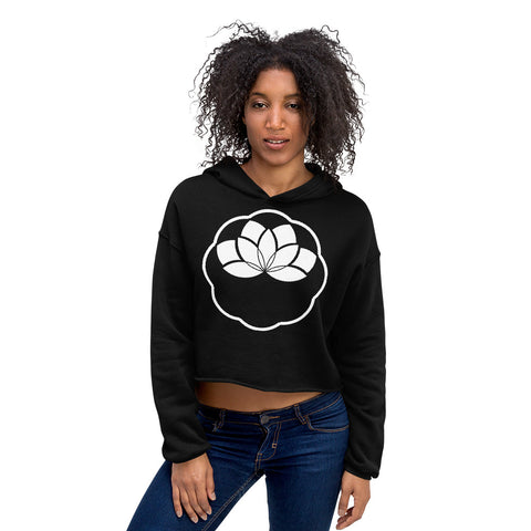 Minimalist Lotus Crop Hoodie-Flower of Living