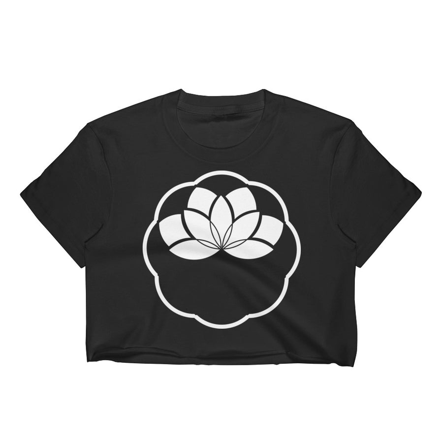 White Minimalist Lotus Crop Top - Flower of Living