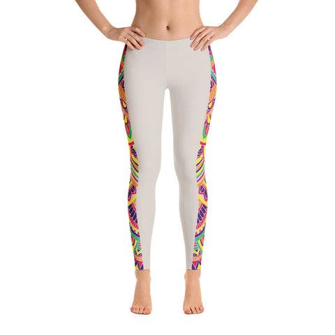 Rainbow Mandala Stripe Ivory Yoga Pants-Flower of Living