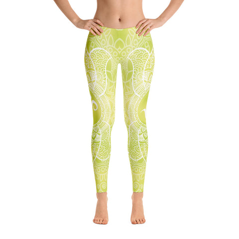 Elegant Green OM Yoga Pants-Flower of Living