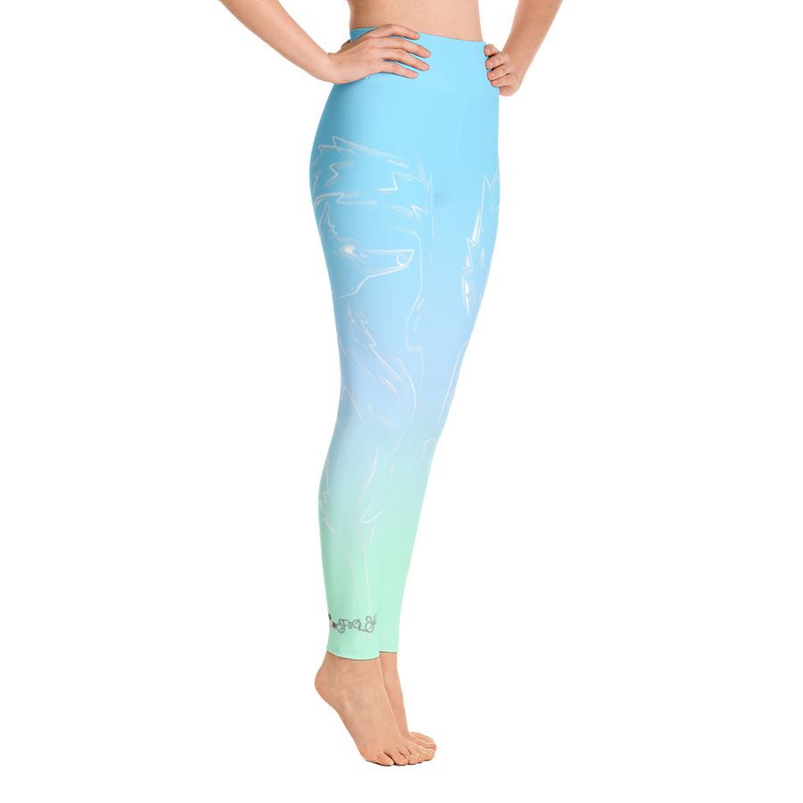 Springtime Breeze Wolf High Waist Yoga Pants - Flower of Living