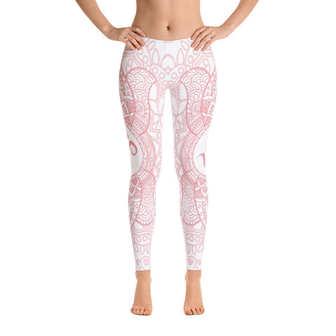 Elegant Light Pink OM Yoga Pants-Flower of Living
