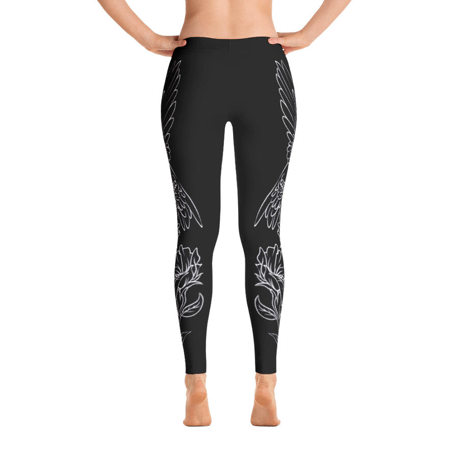 Ambassador Only - Black Hummingbird Yoga Pants - Flower of Living