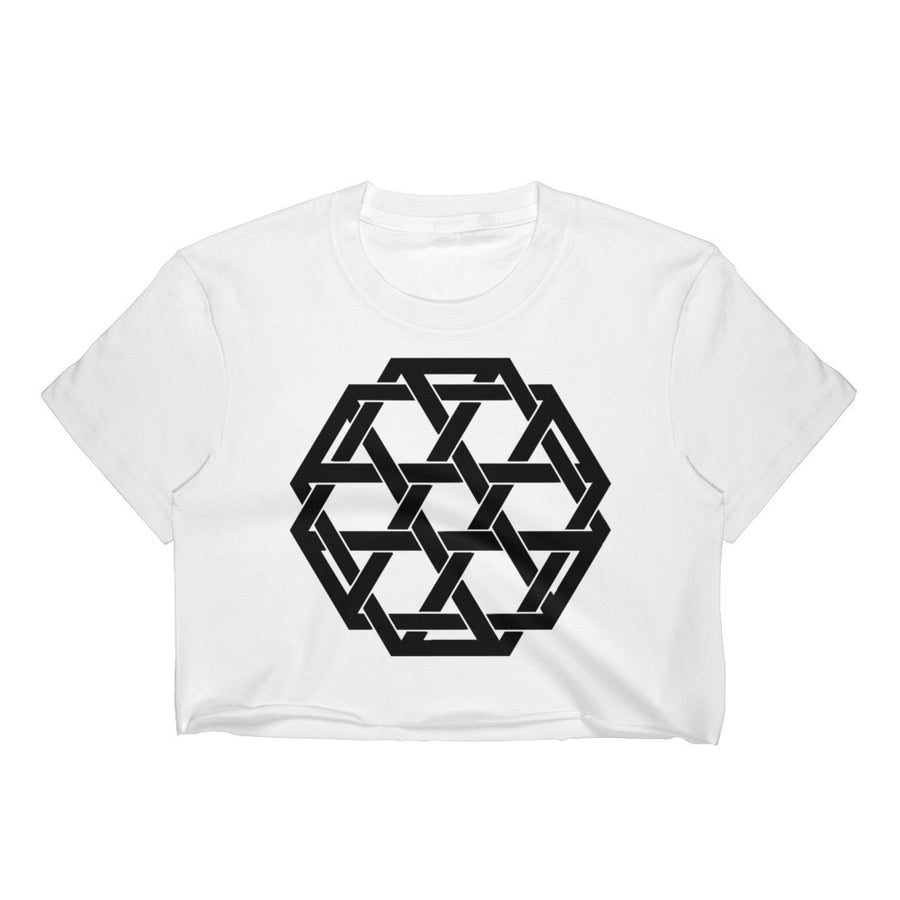Black Minimalist Woven Merkaba Crop Top - Flower of Living