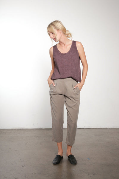 Tencel Pleated Crop Pant
