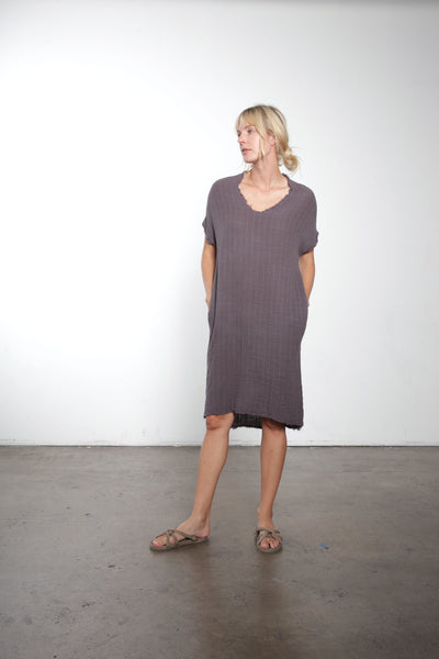Raw Edge V-Neck Hi-Lo Gauze Dress