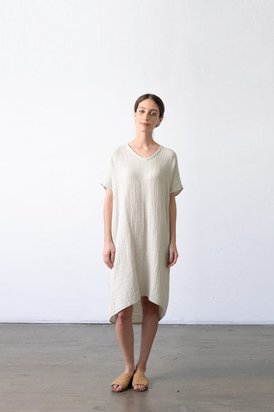 V-Neck Hi-Lo Gauze Dress