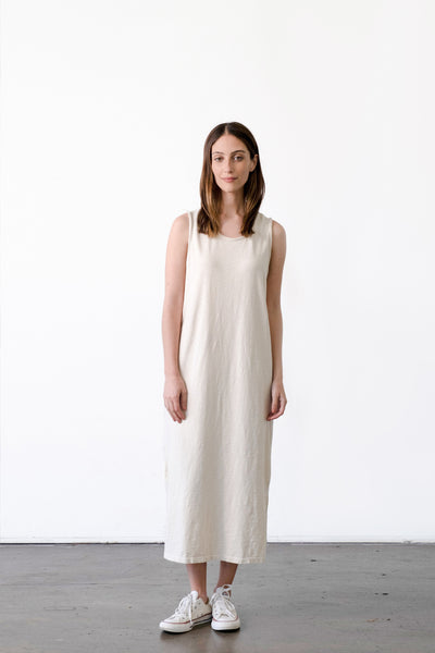 Raw Edge Sleeveless T-Shirt Dress