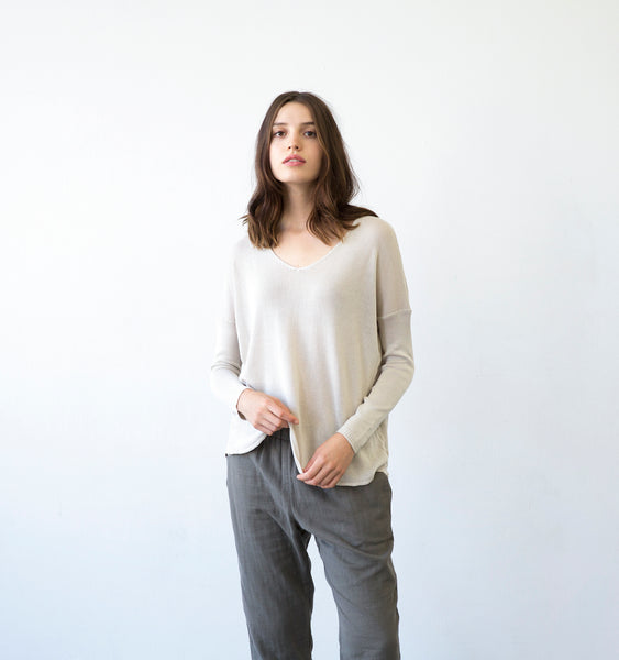 Tencel Long Sleeve V-Neck Sweater