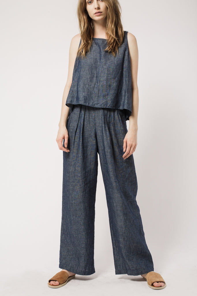 Indigo Pleated Pants