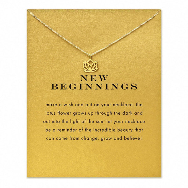 "Jewelry - Limited Edition ""New Beginnings"" Lotus Flower Gold Or Silver Necklace - FREE SHIPPING"