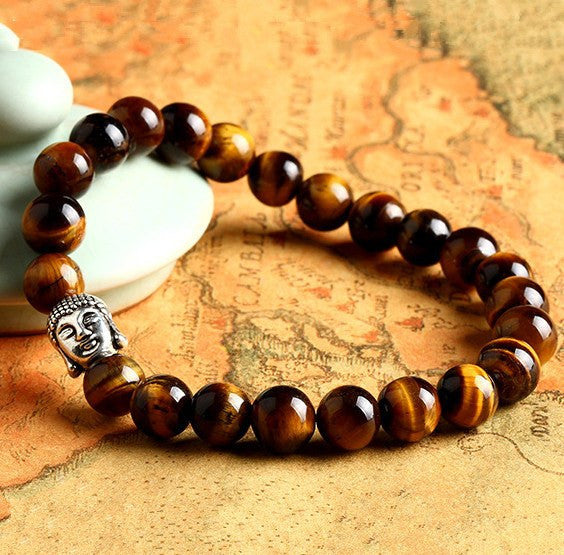 Tiger Eye / Colored / Wooden Buddha Head Prayer Beads Bracelet - FREE SHIPPING