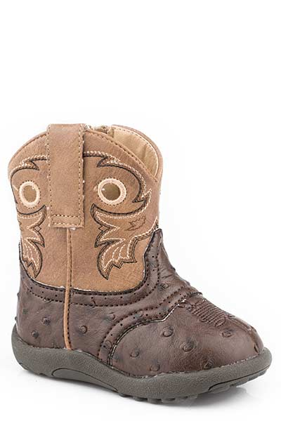 Roper Infant's Brown Ostrich Western Boot