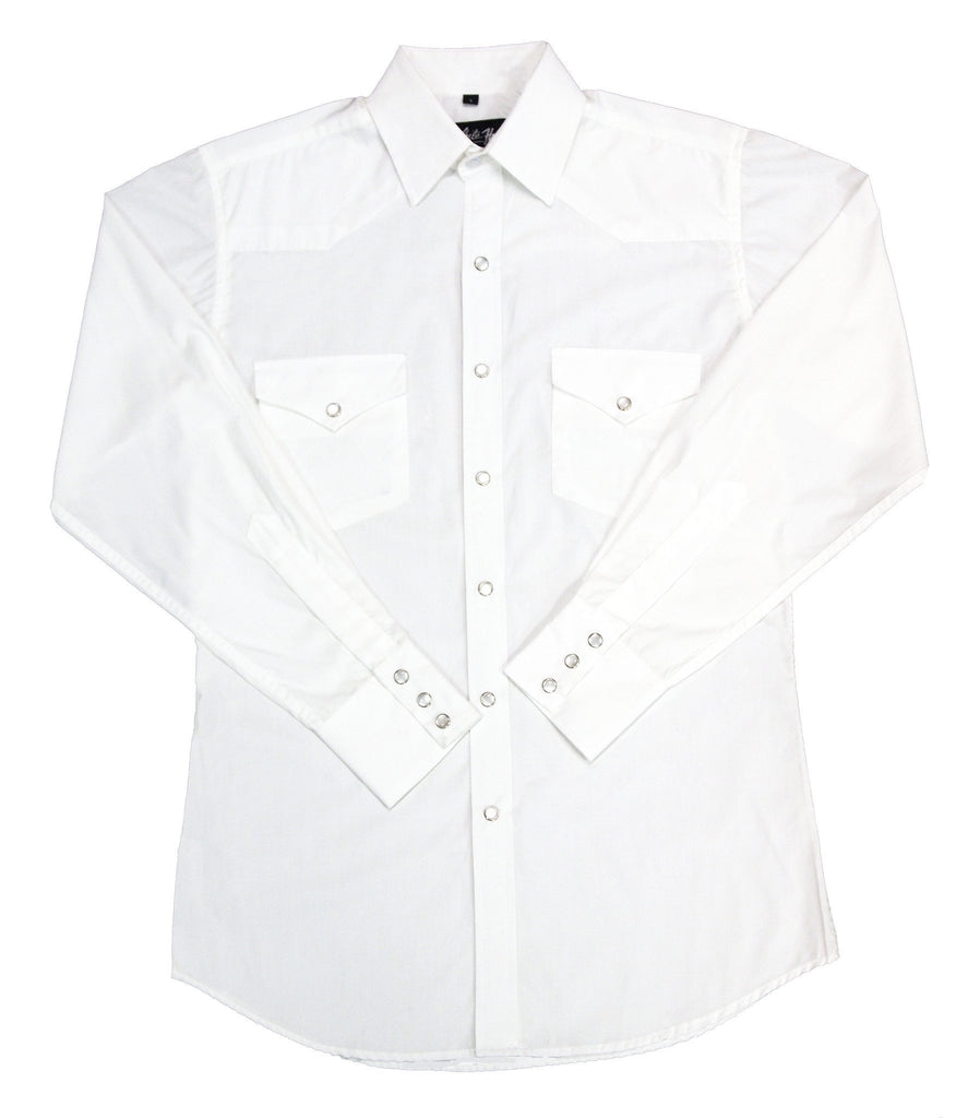 White Horse Mens Solid White L/S Shirt - Big Sizes