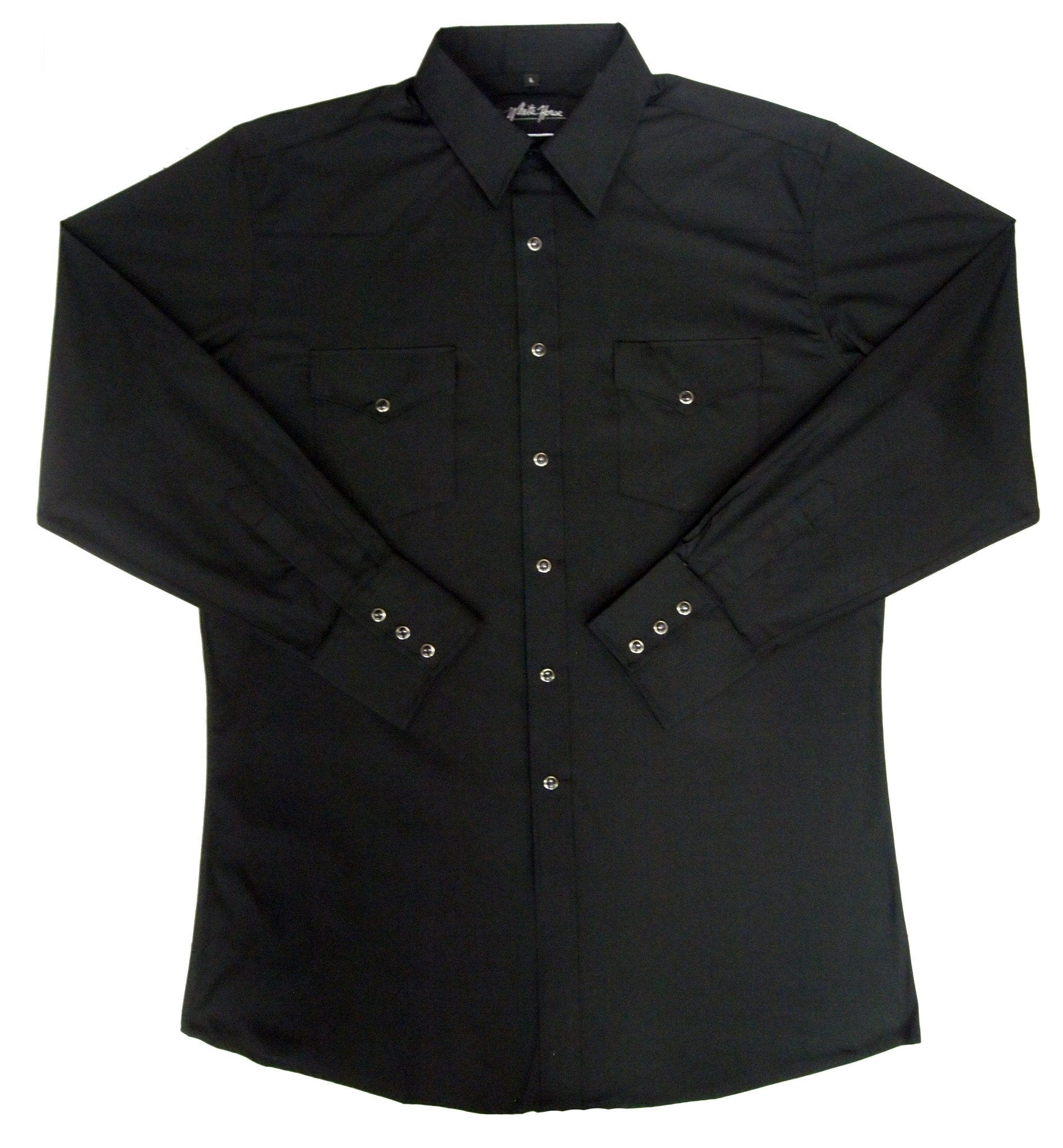 White Horse Mens Solid Black L/S Western Shirt