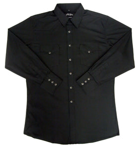 White Horse Mens Solid Black L/S Western Shirt - Big Sizes