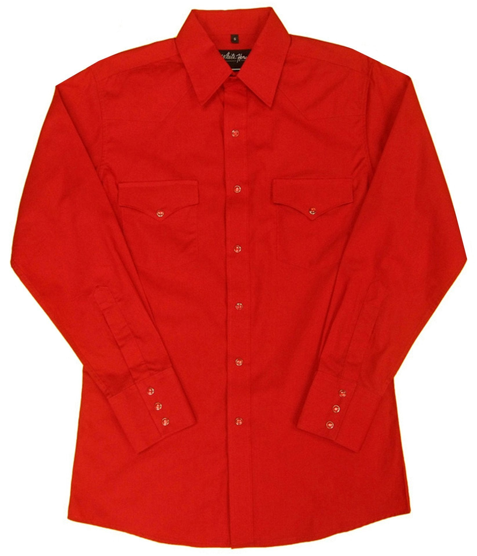 White Horse Mens Solid Red L/S Western Shirt - Big Sizes