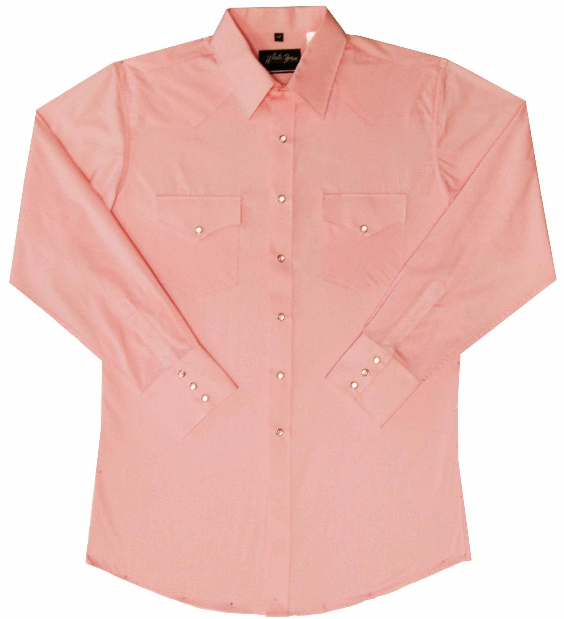 White Horse Mens Solid Pink L/S Western Shirt