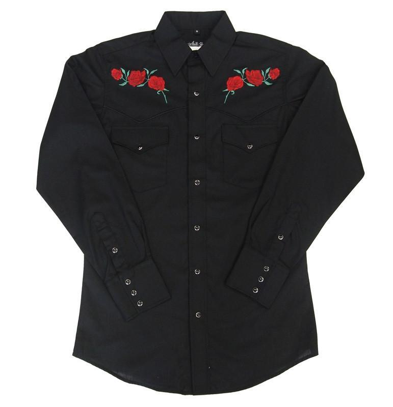 White Horse Mens Embroidered Red Rose L/S Western Shirt