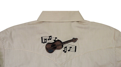 White Horse Ranch Mens Embroidered Guitar L/S Western Shirt