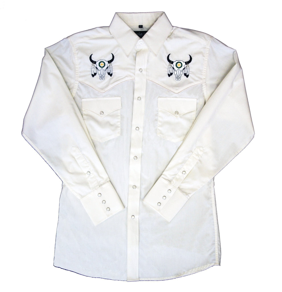 White Horse  Mens Embroid Skull