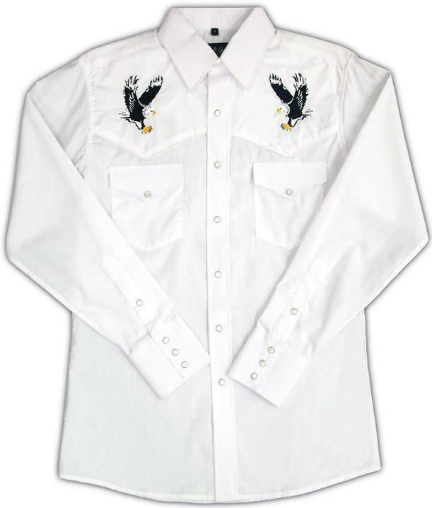 White Horse Mens Embroidered Eagle L/S Western Shirt - Big Sizes