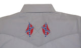 White Horse Mens Embroidered Confederate Flag L/S Western Shirt