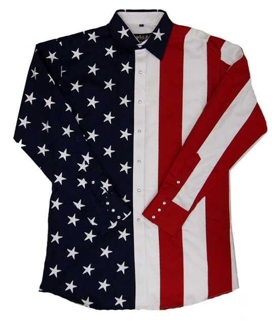 White Horse Mens Embroidered Flag & Stars L/S Western Shirt