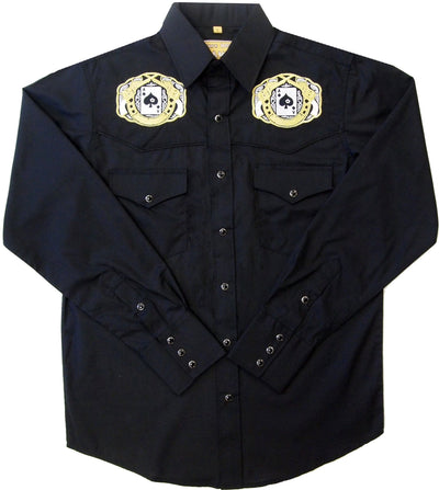 White Horse Ranch Embroidered Spades & Pistols L/S Western Shirt