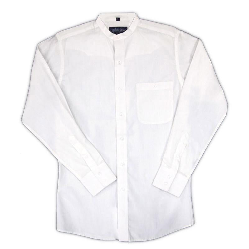 White Horse Mens Banded Collar L/S Western Shirt