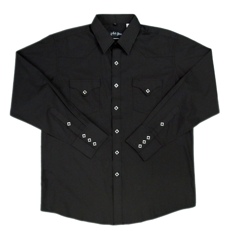 White Horse Men's Classic L/S Western Shirt - Black